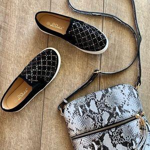 Black Rhinetones White Platform Slip-On Sneaker